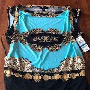 NWT Style & Co baroque teal blouse, XL